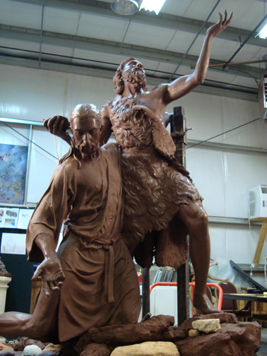 John Baptising Christ - clay sculpture